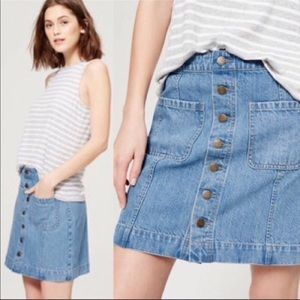 Loft denim button front mini skirt.